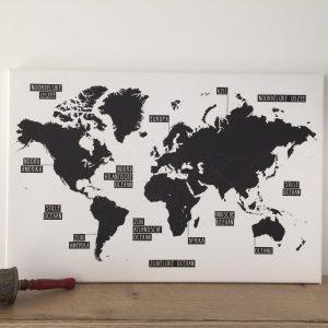 Wereldkaart zwartwit